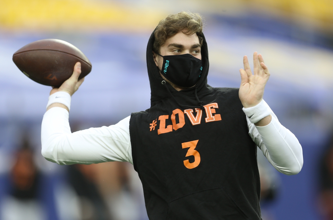 Nov 21, 2020; Pittsburgh, Pennsylvania, USA;  Virginia Tech Hokies quarterback Braxton Burmeister (3) throws during pre-game warm-ups before playing the Pittsburgh Panthers at Heinz Field. Pittsburgh won 47-14. Mandatory Credit: Charles LeClaire-USA TODAY Sports
