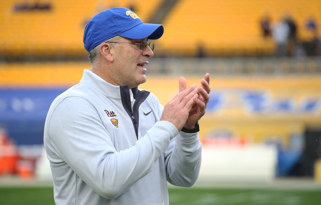 Nov 21, 2020; Pittsburgh, Pennsylvania, USA;  Pittsburgh Panthers head coach Pat Narduzzi reacts on the field before playing the Virginia Tech Hokies at Heinz Field. Pittsburgh won 47-14. Mandatory Credit: Charles LeClaire-USA TODAY Sports