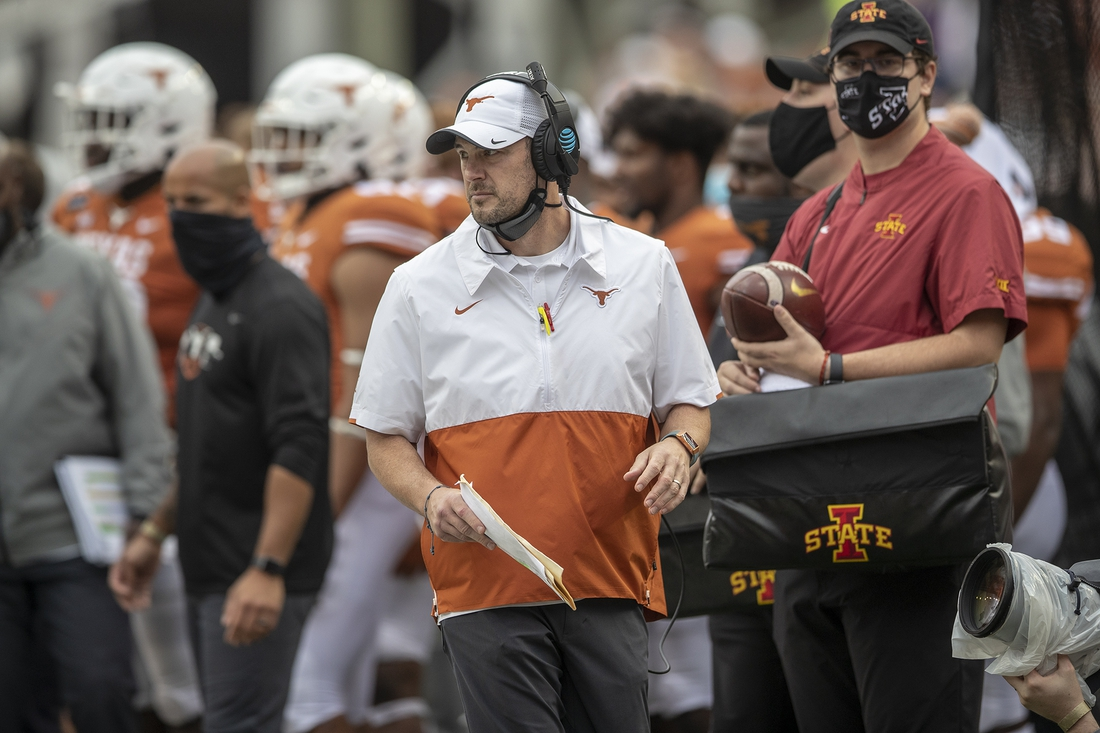 Nov 27, 2020; Austin, TX, USA; Texas Longhorns head coach Tom Herman looks on against Iowa State Cyclones during an NCAA college football game at Darrell K Royal-Texas Memorial Stadium.  Mandatory Credit: Ricardo B. Brazziell-USA TODAY NETWORK