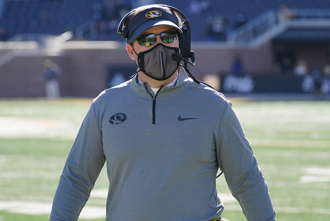 Nov 28, 2020; Columbia, Missouri, USA; Missouri Tigers head coach Eliah Drinkwitz looks on from the sidelines during the first half against the Vanderbilt Commodores at Faurot Field at Memorial Stadium. Mandatory Credit: Denny Medley-USA TODAY Sports
