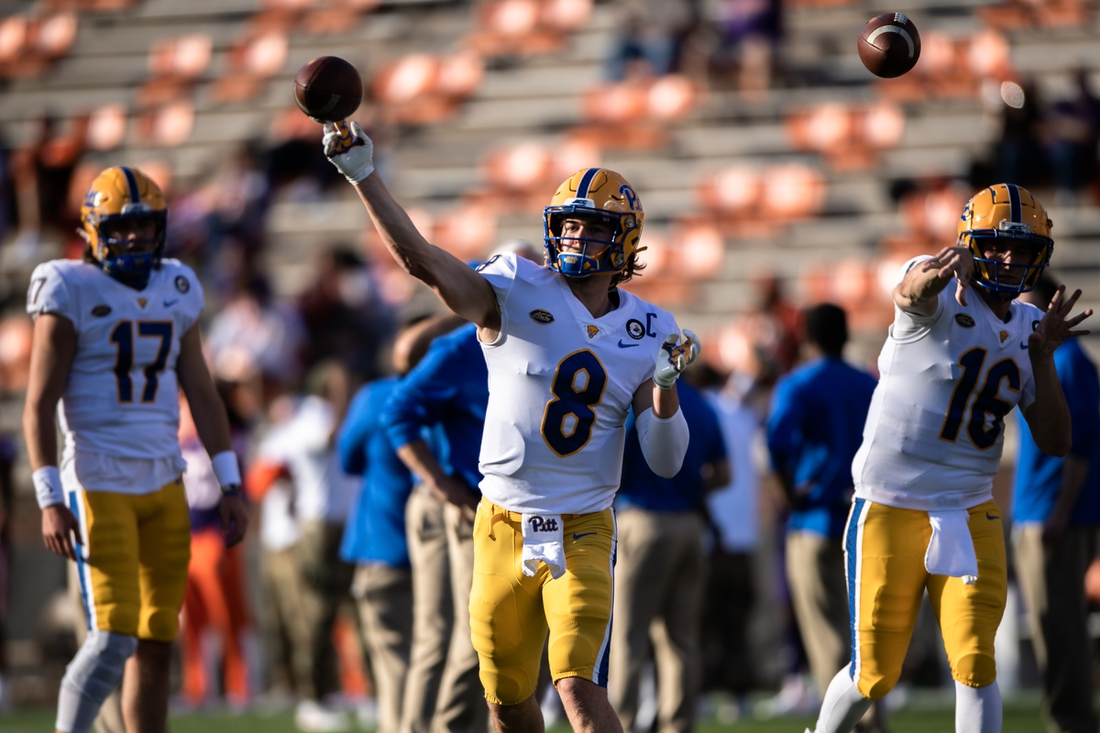 Nov 28, 2020; Clemson, SC, USA; Pittsburgh quarterback Kenny Pickett (8) warms up with his team before their game at Clemson at Memorial Stadium. Mandatory Credit: Ken Ruinard-USA TODAY Sports