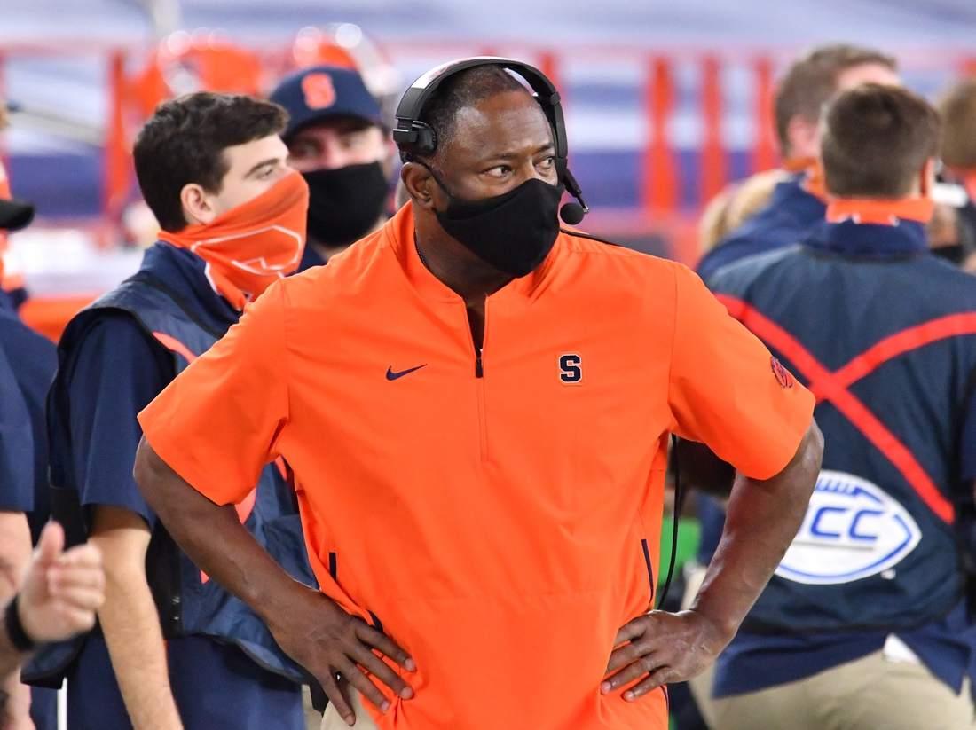 Nov 28, 2020; Syracuse, New York, USA; Syracuse Orange head coach Dino Babers on the sidelines in the fourth quarter game against the North Carolina State Wolfpack at the Carrier Dome. Mandatory Credit: Mark Konezny-USA TODAY Sports