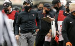 Nov 28, 2020; Stillwater, Oklahoma, USA;  Texas Tech coach Matt Wells during a football game against Oklahoma State at Boone Pickens Stadium. Mandatory Credit: Bryan Terry-USA TODAY Sports