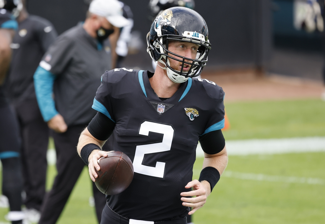 Nov 29, 2020; Jacksonville, Florida, USA;  Jacksonville Jaguars quarterback Mike Glennon (2) runs the ball during warmups before a game against the Cleveland Browns at TIAA Bank Field. Mandatory Credit: Reinhold Matay-USA TODAY Sports