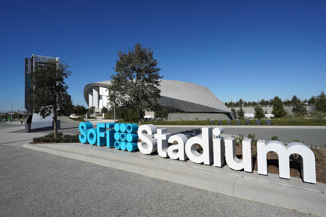 Nov 29, 2020; Inglewood, California, USA; A general view of SoFi Stadium exterior prior to the NFL game between the San Francisco 49ers and the Los Angeles Rams. Mandatory Credit: Kirby Lee-USA TODAY Sports