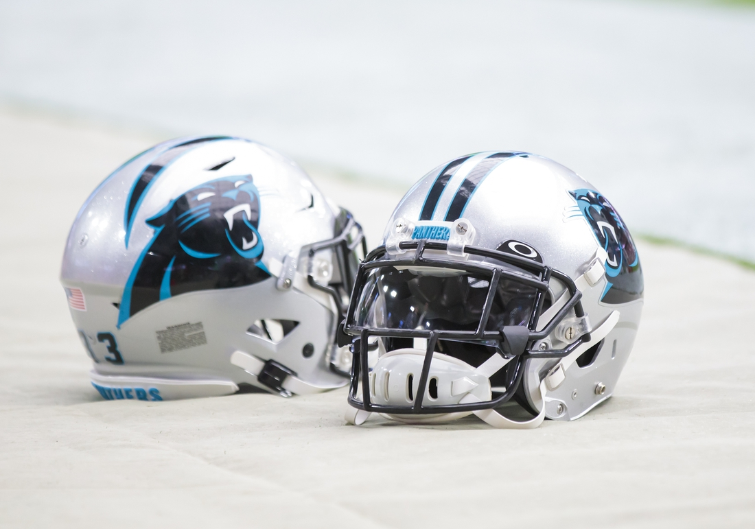 Sep 22, 2019; Glendale, AZ, USA; Detailed view of Carolina Panthers helmets against the Arizona Cardinals at State Farm Stadium. Mandatory Credit: Mark J. Rebilas-USA TODAY Sports
