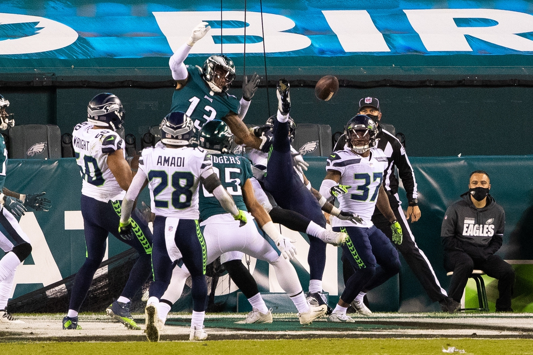Nov 30, 2020; Philadelphia, Pennsylvania, USA; Philadelphia Eagles tight end Richard Rodgers (85) catches a touchdown pass during the fourth quarter against the Seattle Seahawks at Lincoln Financial Field. Mandatory Credit: Bill Streicher-USA TODAY Sports