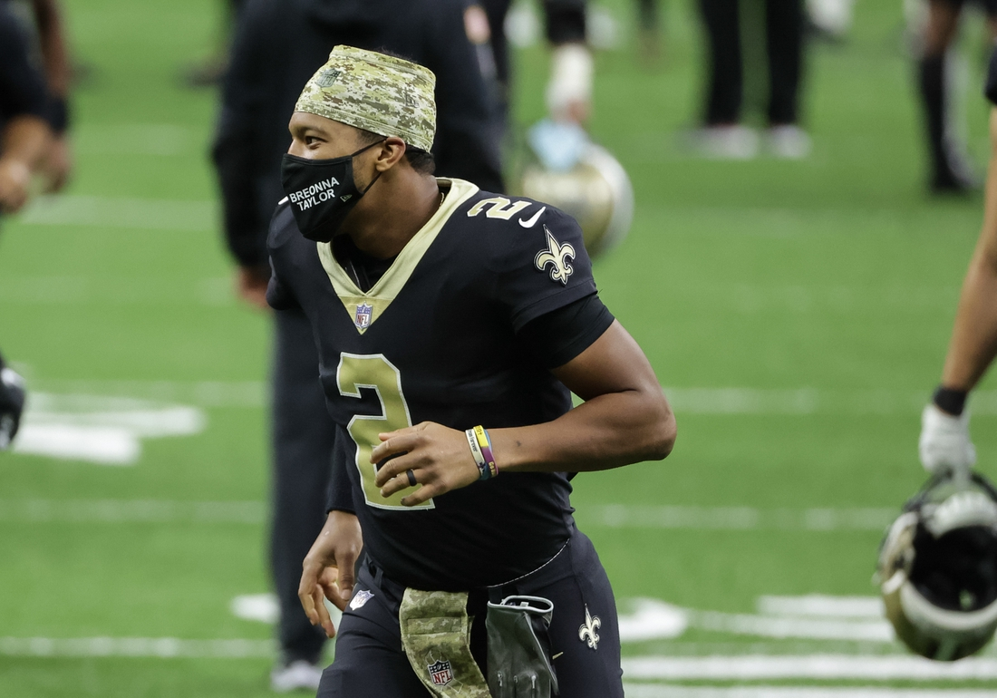 Nov 22, 2020; New Orleans, Louisiana, USA;  New Orleans Saints quarterback Jameis Winston (2) following a win against the Atlanta Falcons during the second half at the Mercedes-Benz Superdome. Mandatory Credit: Derick E. Hingle-USA TODAY Sports