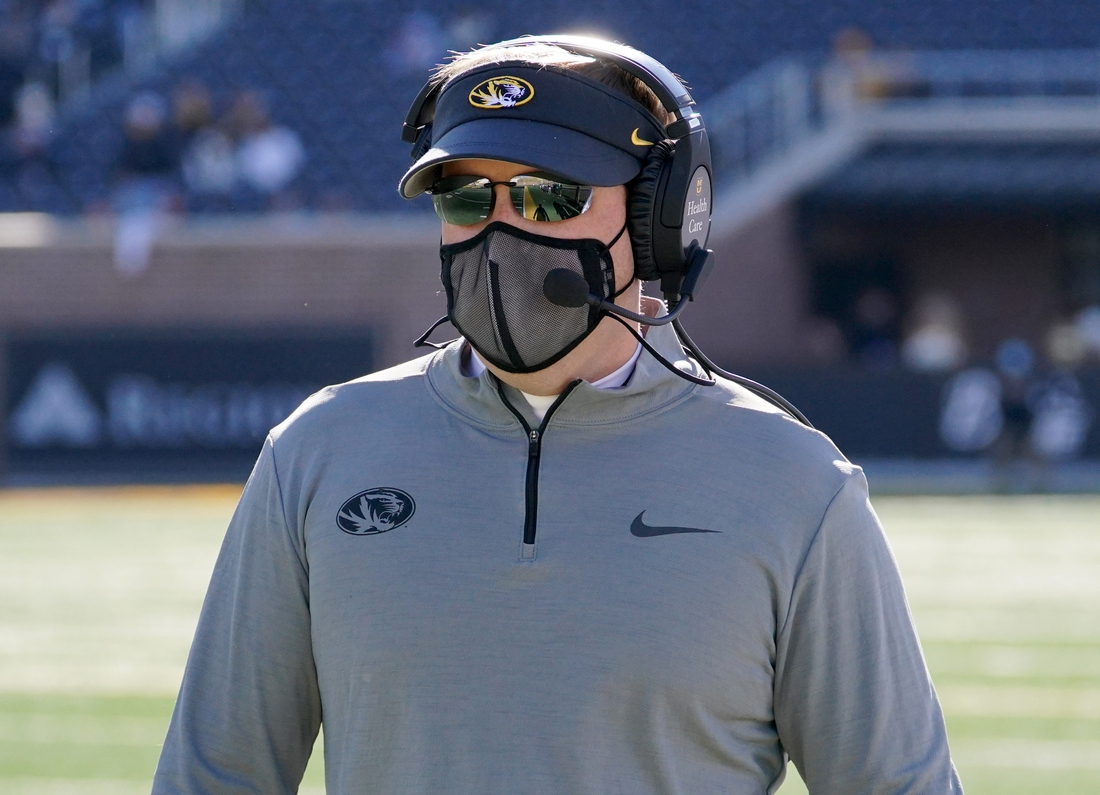Nov 28, 2020; Columbia, Missouri, USA; Missouri Tigers head coach Eliah Drinkwitz watches play from the sidelines during the game against the Vanderbilt Commodores at Faurot Field at Memorial Stadium. Mandatory Credit: Denny Medley-USA TODAY Sports
