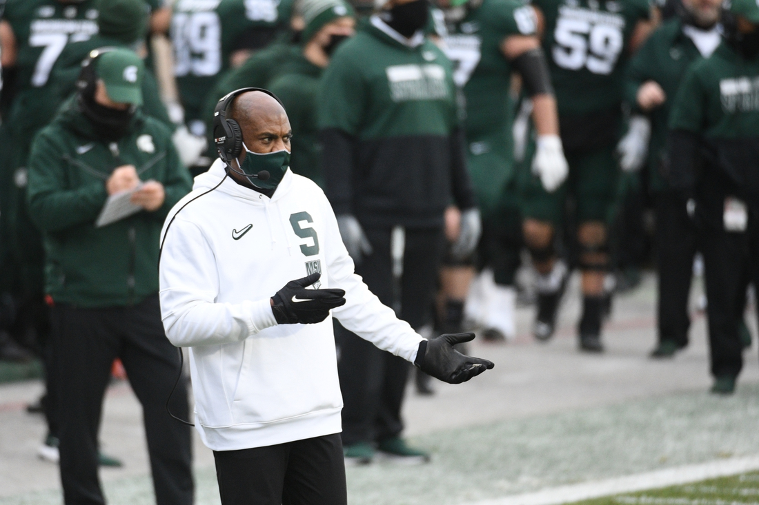 Dec 5, 2020; East Lansing, Michigan, USA; Michigan State Spartans head coach Mel Tucker during the first quarter against the Ohio State Buckeyes at Spartan Stadium. Mandatory Credit: Tim Fuller-USA TODAY Sports