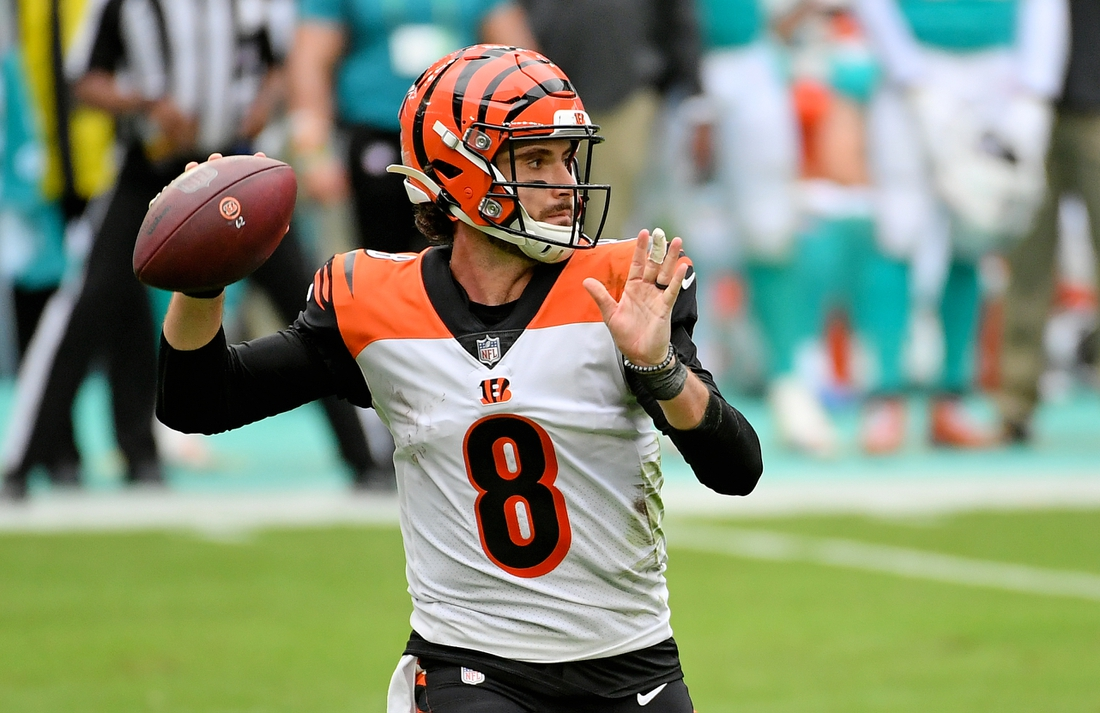 Dec 6, 2020; Miami Gardens, Florida, USA; Cincinnati Bengals quarterback Brandon Allen (8) attempts a pass against the Miami Dolphins during the first half at Hard Rock Stadium. Mandatory Credit: Jasen Vinlove-USA TODAY Sports
