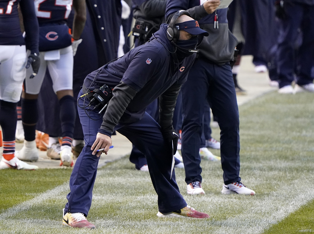 Dec 6, 2020; Chicago, Illinois, USA; Chicago Bears coach Matt Nagy during the fourth quarter against the Detroit Lions  at Soldier Field. Mandatory Credit: Mike Dinovo-USA TODAY Sports