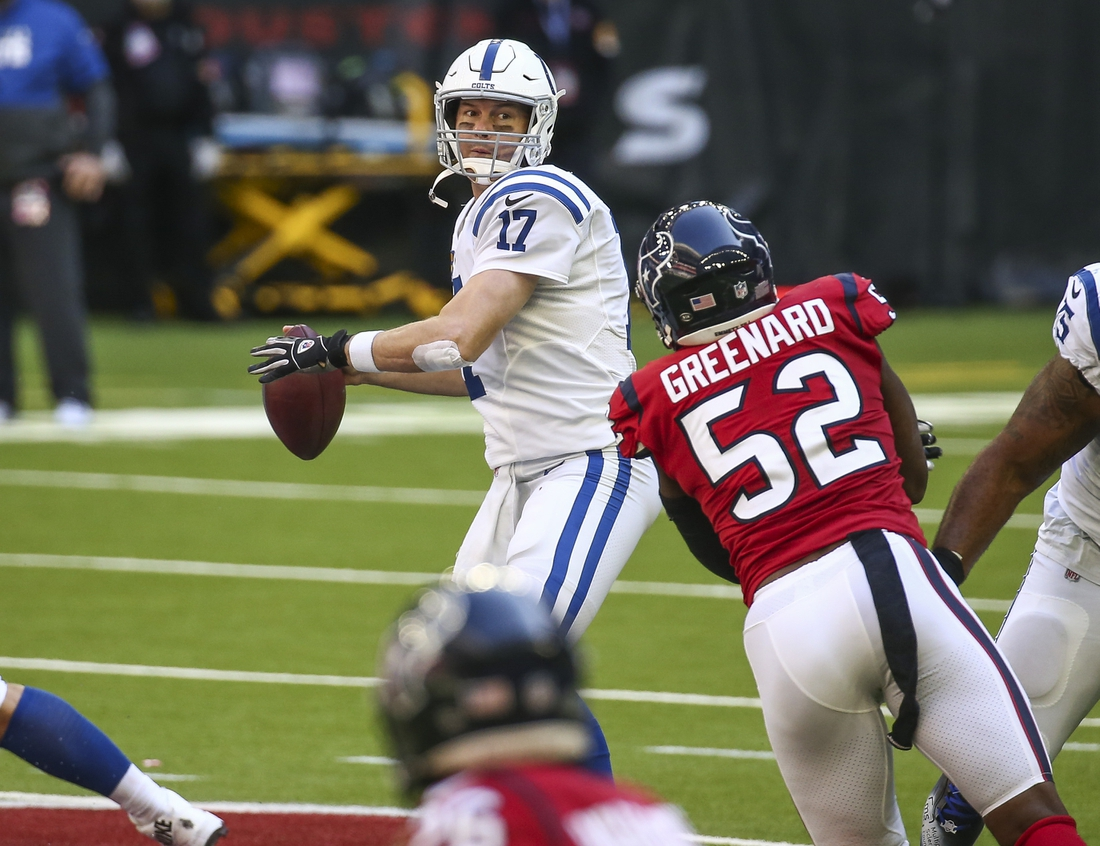 Dec 6, 2020; Houston, Texas, USA; Indianapolis Colts quarterback Philip Rivers (17) attempts a pass during the second quarter against the Houston Texans at NRG Stadium. Mandatory Credit: Troy Taormina-USA TODAY Sports
