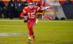 Dec 6, 2020; Kansas City, Missouri, USA; Kansas City Chiefs quarterback Patrick Mahomes (15) gestures as he runs with ball during the second half against the Denver Broncos at Arrowhead Stadium. Mandatory Credit: Jay Biggerstaff-USA TODAY Sports