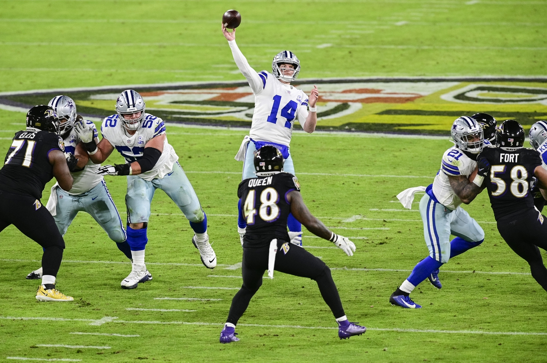 Dec 8, 2020; Baltimore, Maryland, USA;  Dallas Cowboys quarterback Andy Dalton (14) throws as Baltimore Ravens inside linebacker Patrick Queen (48) looks on during the second quarter at M&T Bank Stadium. Mandatory Credit: Tommy Gilligan-USA TODAY Sports