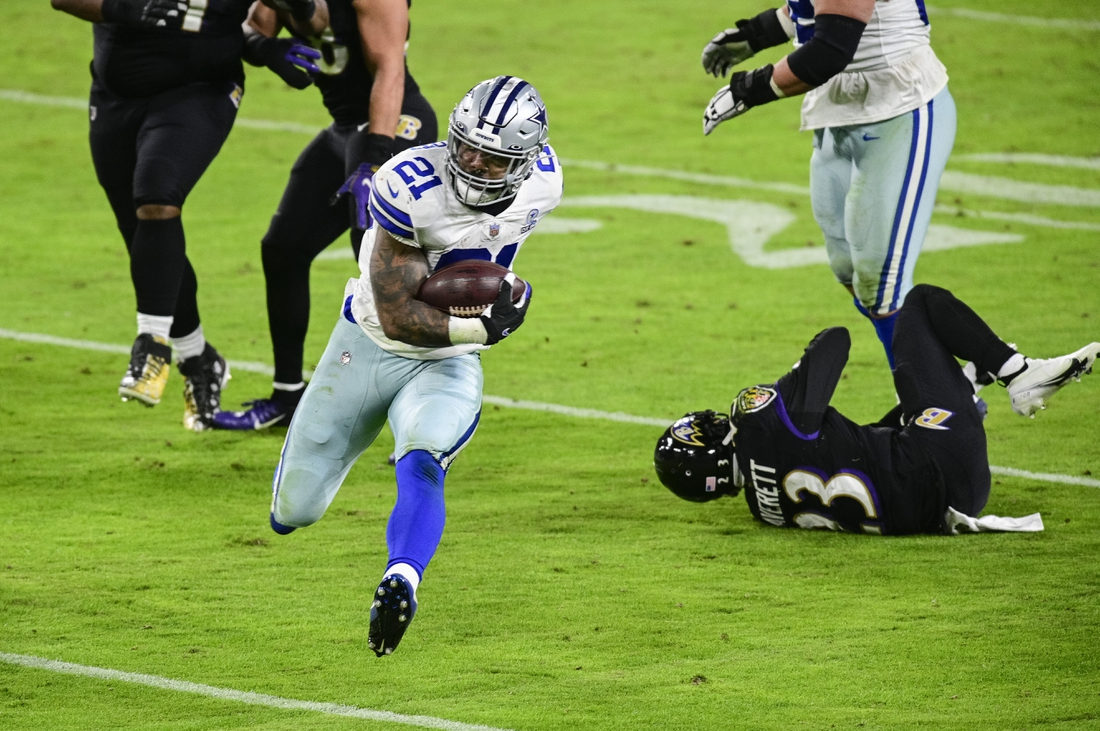 Dec 8, 2020; Baltimore, Maryland, USA;  Dallas Cowboys running back Ezekiel Elliott (21) rushes during the second half against the Baltimore Ravens at M&T Bank Stadium. Mandatory Credit: Tommy Gilligan-USA TODAY Sports