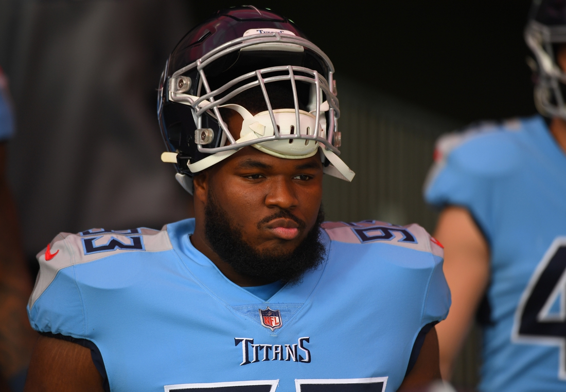 Dec 6, 2020; Nashville, Tennessee, USA; Tennessee Titans defensive tackle Teair Tart (93) walks to the field before the game before the game against the Cleveland Browns at Nissan Stadium. Mandatory Credit: Christopher Hanewinckel-USA TODAY Sports