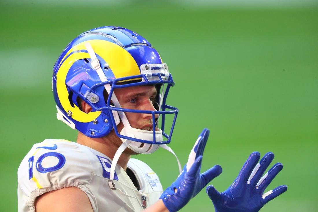 Dec 6, 2020; Glendale, Arizona, USA; Los Angeles Rams wide receiver Cooper Kupp (10) against the Arizona Cardinals at State Farm Stadium. Mandatory Credit: Mark J. Rebilas-USA TODAY Sports