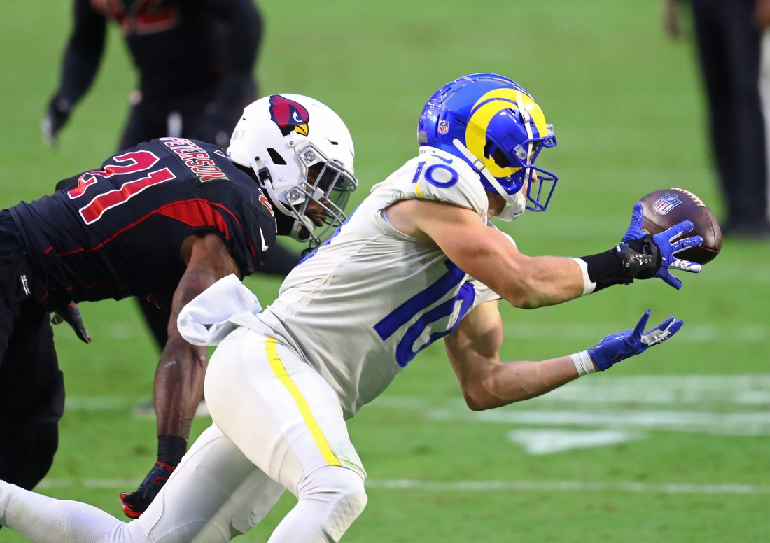 Dec 6, 2020; Glendale, Arizona, USA; Los Angeles Rams wide receiver Cooper Kupp (10) against the Arizona Cardinals at State Farm Stadium. Mandatory Credit: Mark J. Rebilas-USA TODAY Sports