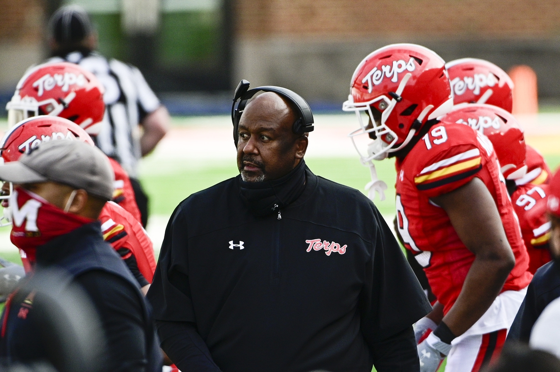 Dec 12, 2020; College Park, Maryland, USA; Maryland Terrapins head coach Mike Locksley walks down the sidelines during the first quarter against the Rutgers Scarlet Knights  at Capital One Field at Maryland Stadium. Mandatory Credit: Tommy Gilligan-USA TODAY Sports