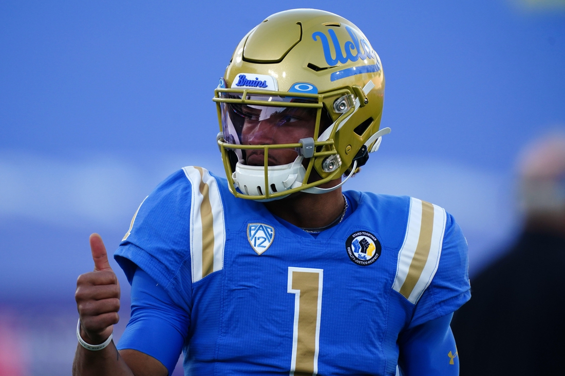 Dec 12, 2020; Pasadena, California, USA; UCLA Bruins quarterback Dorian Thompson-Robinson (1) reacts before the game against the Southern California Trojans at Rose Bowl. Mandatory Credit: Kirby Lee-USA TODAY Sports