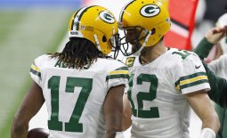 Dec 13, 2020; Detroit, Michigan, USA; Green Bay Packers wide receiver Davante Adams (17) celebrates with quarterback Aaron Rodgers (12) after a touchdown during the first quarter against the Detroit Lions at Ford Field. Mandatory Credit: Raj Mehta-USA TODAY Sports