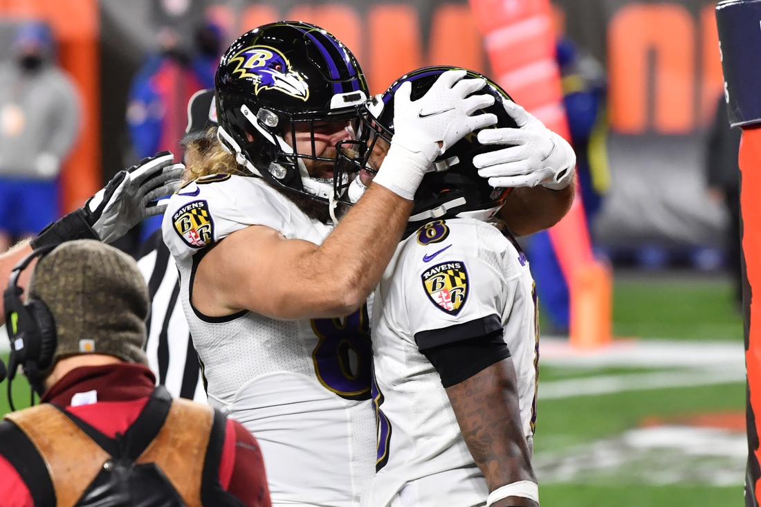 Dec 14, 2020; Cleveland, Ohio, USA; Baltimore Ravens quarterback Lamar Jackson (8) celebrates with tight end Luke Willson (82) after he scored a touchdown during the first quarter against the Cleveland Browns at FirstEnergy Stadium. Mandatory Credit: Ken Blaze-USA TODAY Sports