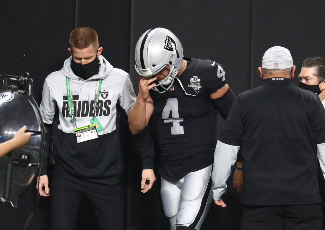 Dec 17, 2020; Paradise, Nevada, USA; Las Vegas Raiders quarterback Derek Carr (4) reacts as he heads to the locker room after suffering a groin injury against the Los Angeles Chargers during the first half at Allegiant Stadium. Mandatory Credit: Mark J. Rebilas-USA TODAY Sports