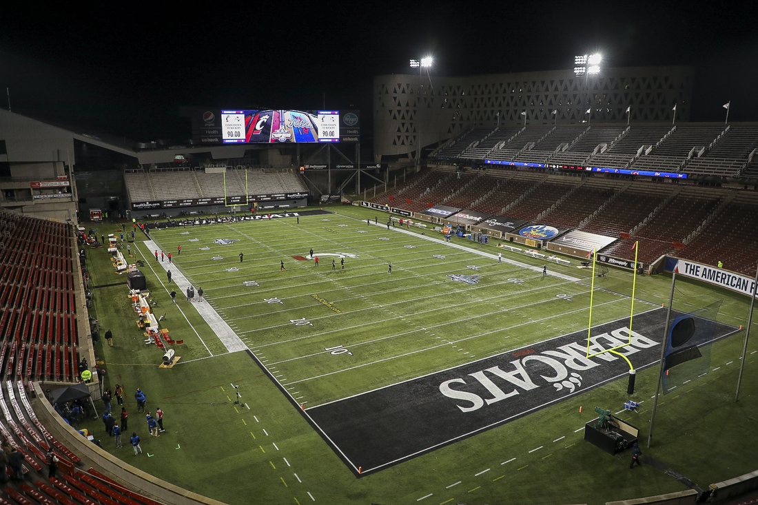 Dec 19, 2020; Cincinnati, Ohio, USA; A general view of Nippert Stadium prior to the game between the Tulsa Golden Hurricanes and the Cincinnati Bearcats at Nippert Stadium. Mandatory Credit: Katie Stratman-USA TODAY Sports