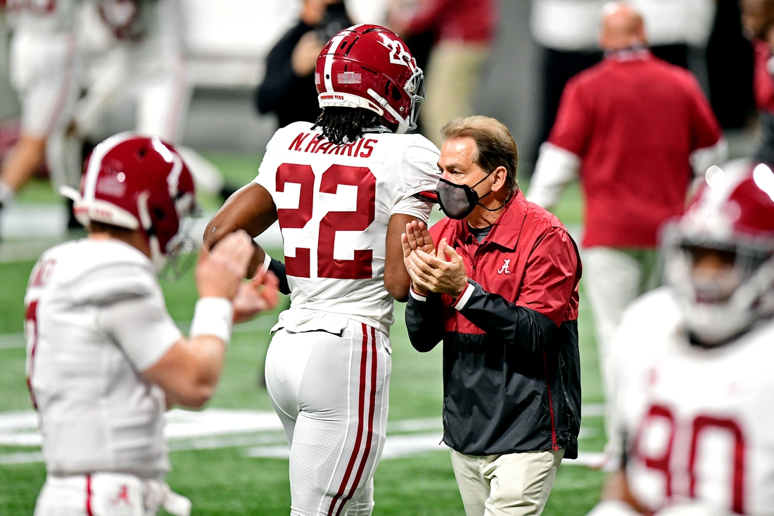 Dec 19, 2020; Atlanta, Georgia, USA; Alabama Crimson Tide head coach Nick Saban walks on the field before playing the Florida Gators in the SEC Championship at Mercedes-Benz Stadium. Mandatory Credit: Adam Hagy-USA TODAY Sports