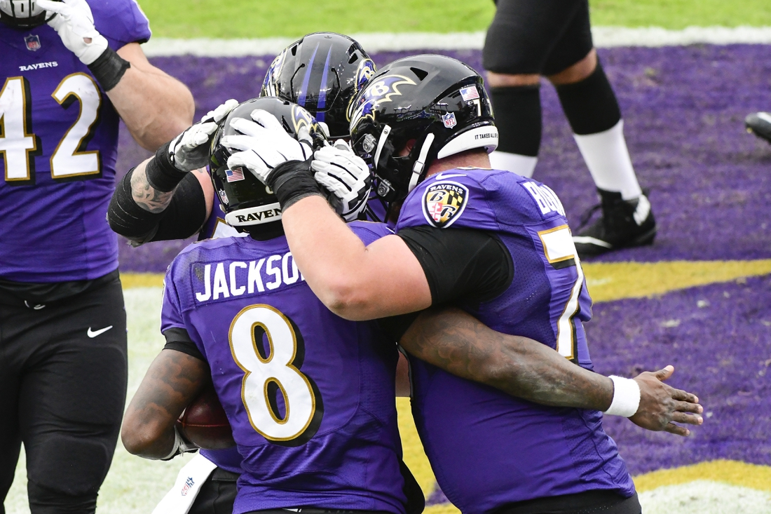 Dec 20, 2020; Baltimore, Maryland, USA; Baltimore Ravens quarterback Lamar Jackson (8) celebrates with  guard Ben Powers (72) and guard Bradley Bozeman (77) after scoring a third quarter touchdown  against the Jacksonville Jaguars  at M&T Bank Stadium. Mandatory Credit: Tommy Gilligan-USA TODAY Sports