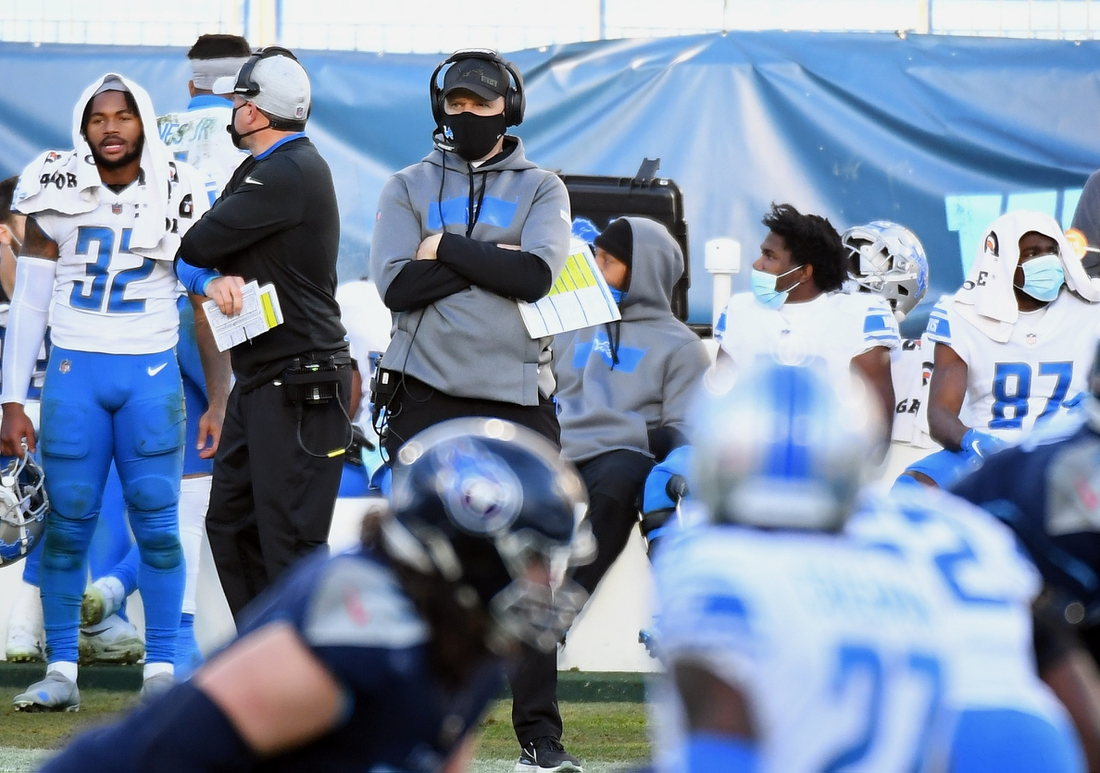 Dec 20, 2020; Nashville, Tennessee, USA; Detroit Lions interim head coach Darrell Bevell looks on from the sidelines during the second half against the Tennessee Titans at Nissan Stadium. Mandatory Credit: Christopher Hanewinckel-USA TODAY Sports