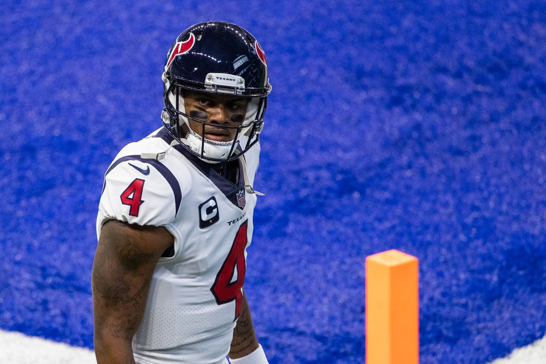 Dec 20, 2020; Indianapolis, Indiana, USA; Houston Texans quarterback Deshaun Watson (4) during warmups before the game against the Indianapolis Colts at Lucas Oil Stadium. Mandatory Credit: Trevor Ruszkowski-USA TODAY Sports