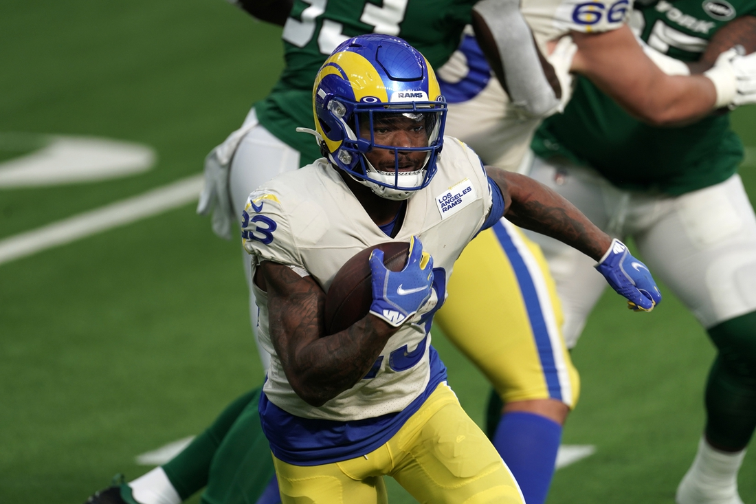 Dec 20, 2020; Inglewood, California, USA; Los Angeles Rams running back Cam Akers (23) carries the ball in the first quarter against the New York Jets at SoFi Stadium. The Jets defeated the Rams 23-20. Mandatory Credit: Kirby Lee-USA TODAY Sports