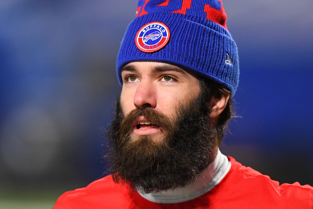 Dec 13, 2020; Orchard Park, New York, USA; Buffalo Bills wide receiver Jake Kumerow (87) prior to the game against the Pittsburgh Steelers at Bills Stadium. Mandatory Credit: Rich Barnes-USA TODAY Sports