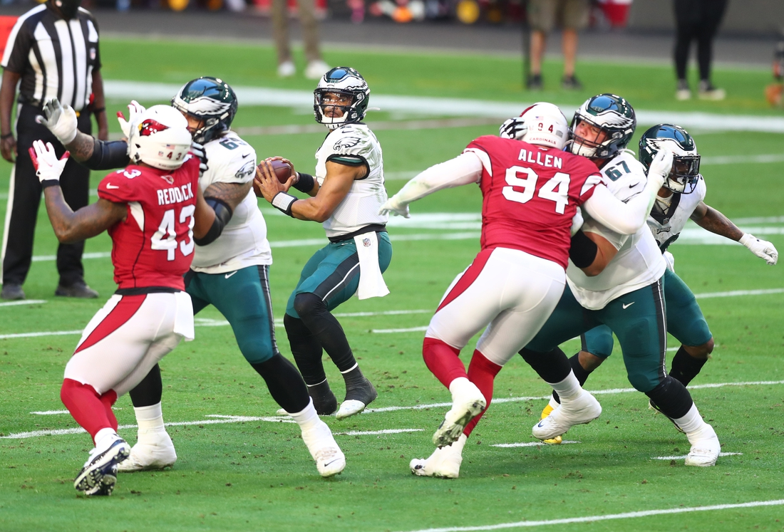 Dec 20, 2020; Glendale, Arizona, USA; Philadelphia Eagles quarterback Jalen Hurts (2) against the Arizona Cardinals at State Farm Stadium. Mandatory Credit: Mark J. Rebilas-USA TODAY Sports