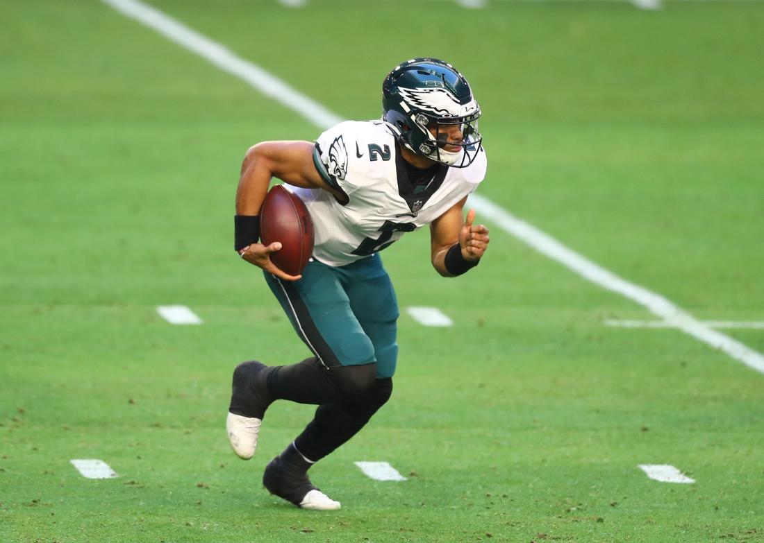 Dec 20, 2020; Glendale, Arizona, USA; Philadelphia Eagles quarterback Jalen Hurts (2) against the Arizona Cardinals at State Farm Stadium. Mandatory Credit: Mark J. Rebilas-USA TODAY Sports