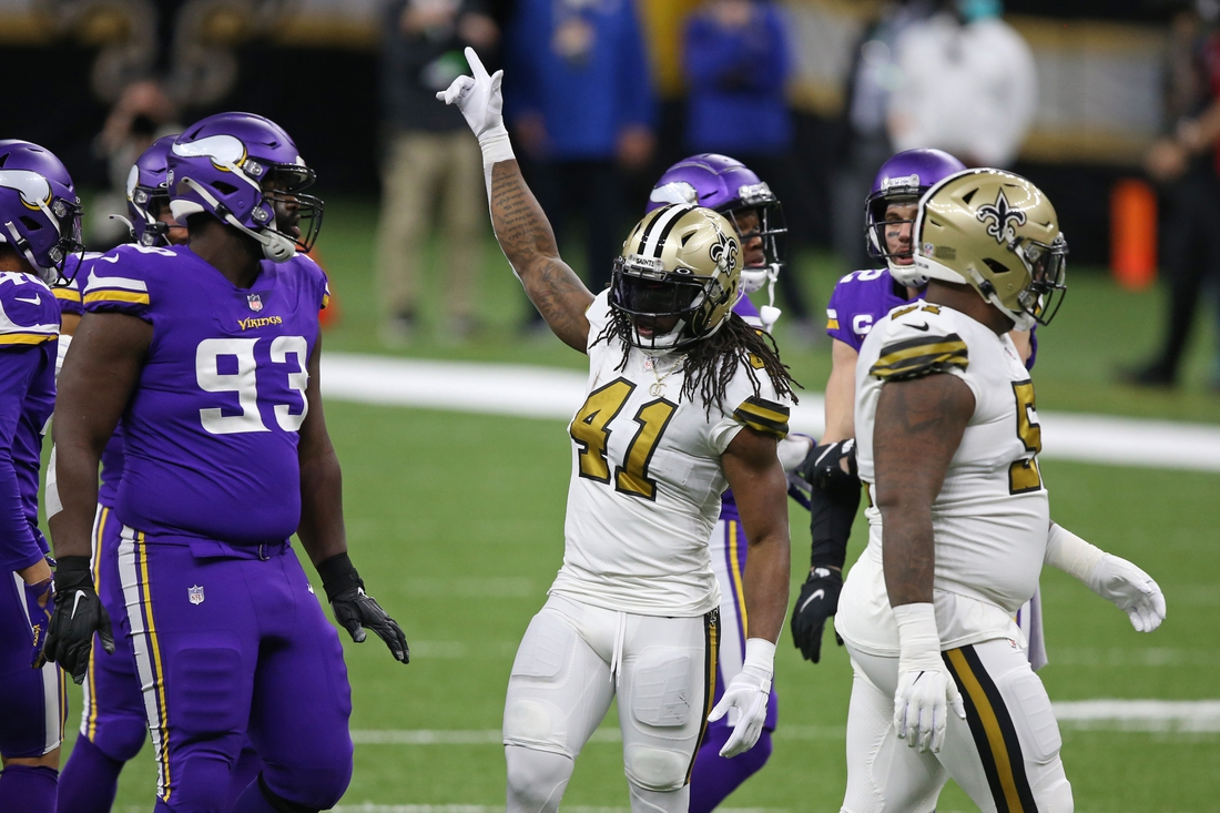 Dec 25, 2020; New Orleans, Louisiana, USA; New Orleans Saints running back Alvin Kamara (41) gestures after picking up a first down against the Minnesota Vikings in the first quarter at the Mercedes-Benz Superdome. Mandatory Credit: Chuck Cook-USA TODAY Sports