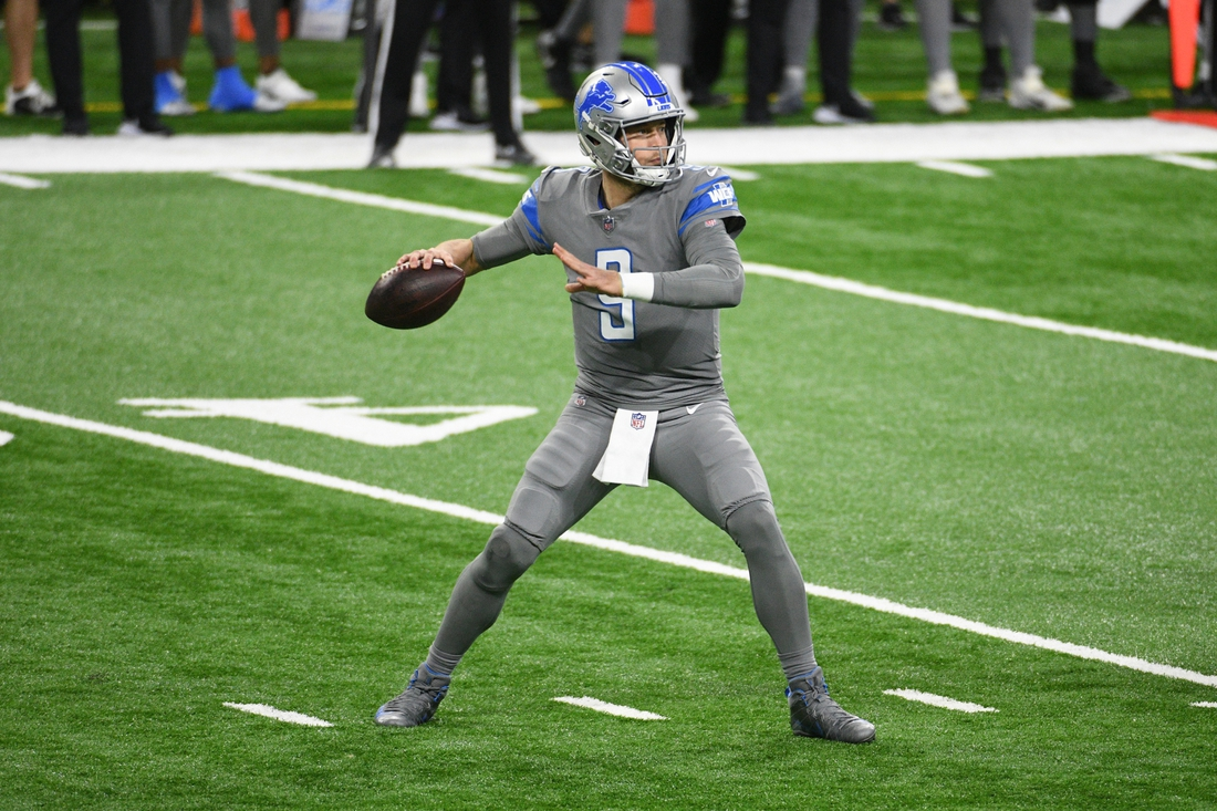 Dec 26, 2020; Detroit, Michigan, USA; Detroit Lions quarterback Matthew Stafford (9) drops back to pass against the Tampa Bay Buccaneers during the first quarter at Ford Field. Mandatory Credit: Tim Fuller-USA TODAY Sports