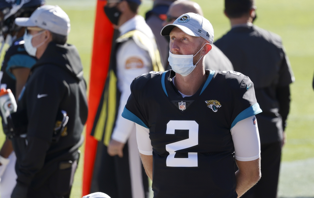 Dec 27, 2020; Jacksonville, Florida, USA; Jacksonville Jaguars quarterback Mike Glennon (2) walks on the sidelines during the second quarter against the Chicago Bears at TIAA Bank Field. Mandatory Credit: Reinhold Matay-USA TODAY Sports