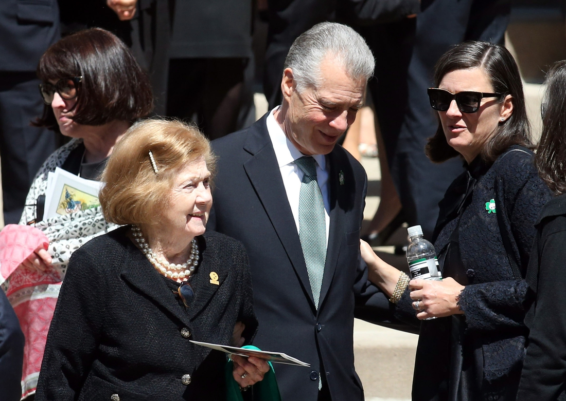 Apr 18, 2017; Pittsburgh, PA, USA;  Pittsburgh Steelers owner Art Rooney II accompanies his mother Patricia Rooney (R) widow of Pittsburgh Steelers chairman Daniel Rooney after his funeral service at Saint Paul Cathedral. Mandatory Credit: Charles LeClaire-USA TODAY Sports
