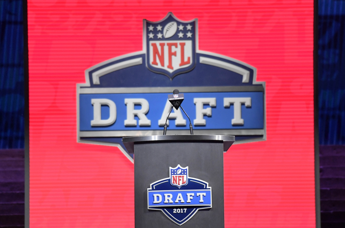Apr 27, 2017; Philadelphia, PA, USA; The podium with draft logo at the first round of the 2017 NFL Draft at the Philadelphia Museum of Art. Mandatory Credit: Kirby Lee-USA TODAY Sports