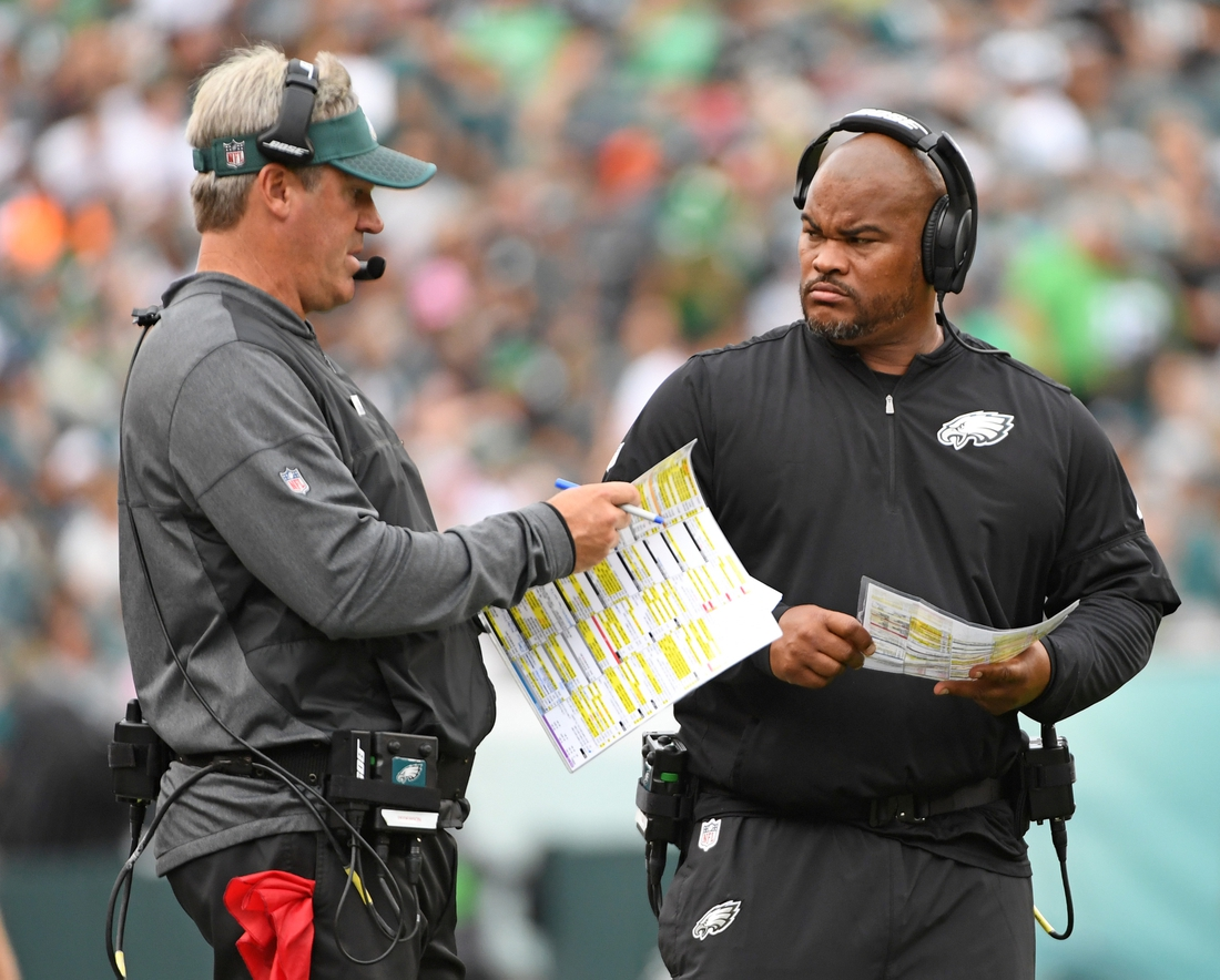 Oct 8, 2017; Philadelphia, PA, USA; Philadelphia Eagles head coach Doug Pederson and running backs coach Duce Staley against the Arizona Cardinals during the second half at Lincoln Financial Field. Mandatory Credit: Eric Hartline-USA TODAY Sports