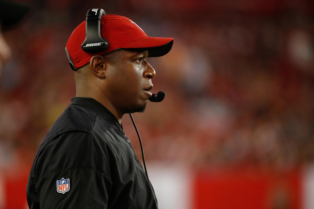 Dec 18, 2017; Tampa, FL, USA; Atlanta Falcons assistant head coach Raheem Morris during the second half against the Tampa Bay Buccaneers at Raymond James Stadium. Mandatory Credit: Kim Klement-USA TODAY Sports