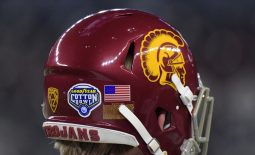Dec 29, 2017; Arlington, TX, USA; General overall view of the 2017 Cotton Bowl logo on the back of the helmet of Southern California Trojans long snapper Jake Olson at AT&T Stadium. Mandatory Credit: Kirby Lee-USA TODAY Sports