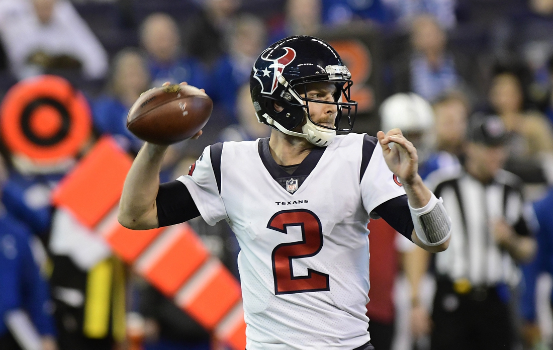 Dec 31, 2017; Indianapolis, IN, USA; Houston Texans quarterback T.J. Yates (2) drops back to pass during the fourth quarter against the Indianapolis Colts at Lucas Oil Stadium. Mandatory Credit: Thomas J. Russo-USA TODAY Sports