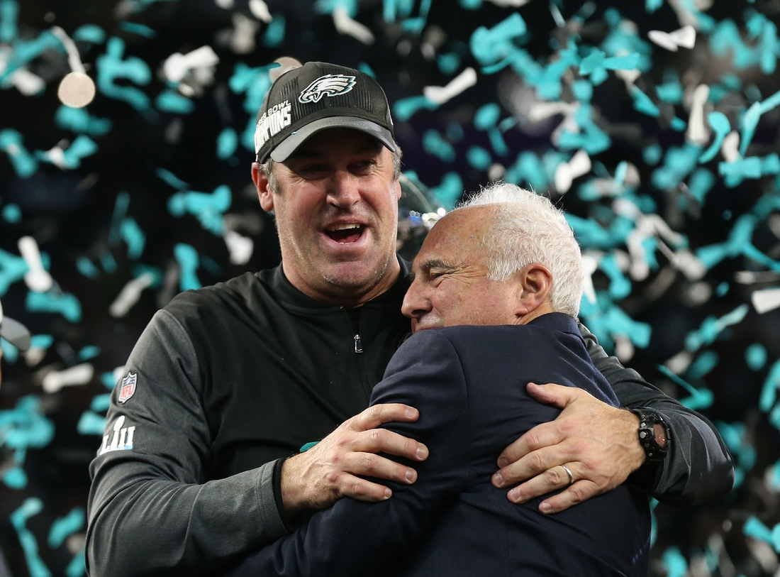 Feb 4, 2018; Minneapolis, MN, USA; Philadelphia Eagles head coach Doug Pederson (right) and owner Jeffrey Lurie celebrate a victory against the New England Patriots in Super Bowl LII at U.S. Bank Stadium. Mandatory Credit: Matthew Emmons-USA TODAY Sports