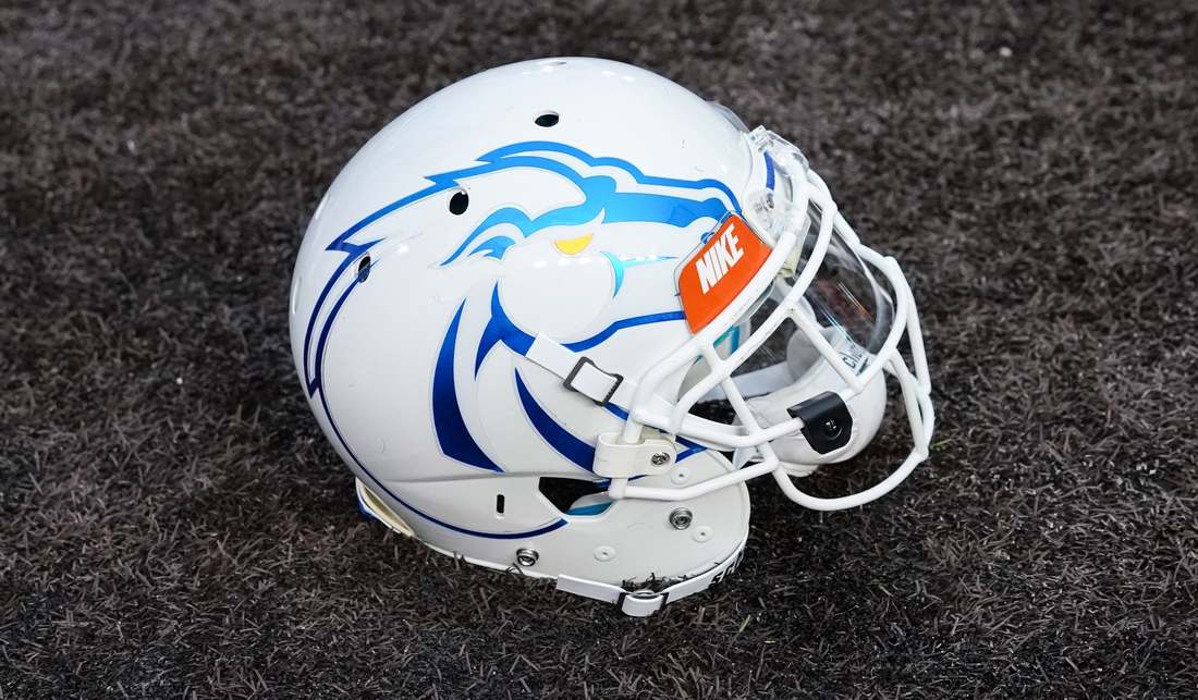 Sep 29, 2018; Laramie, WY, USA; A general view of the Boise State Broncos helmet against the Wyoming Cowboys at Jonah Field War Memorial Stadium. Mandatory Credit: Troy Babbitt-USA TODAY Sports