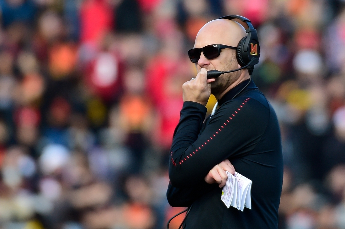Nov 3, 2018; College Park, MD, USA;  Maryland Terrapins interim head coach Matt Canada stands in the field during the first quarter against the Michigan State Spartans at Capital One Field at Maryland Stadium. Mandatory Credit: Tommy Gilligan-USA TODAY Sports