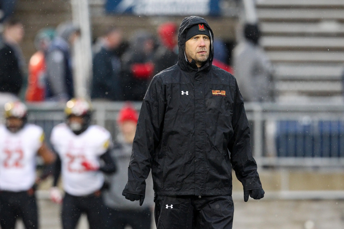 Nov 24, 2018; University Park, PA, USA; Maryland Terrapins interim head coach Matt Canada stands on the field during warm ups before a game against the Penn State Nittany Lions at Beaver Stadium. Mandatory Credit: Matthew O'Haren-USA TODAY Sports